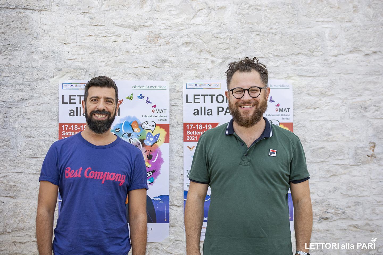 Foto dell'illustratore Attilio Palumbo e del sindaco di Sasso Marconi Roberto Parmeggiani